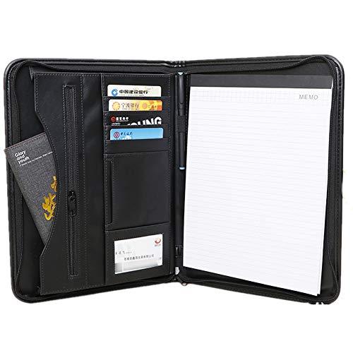 A4 Konferenzmappe mit Reißverschluss Lederportemonnaie mit Reißverschluss, Steckfächern und Kartenhaltern für den Lebenslauf von Dokumenten und mehr