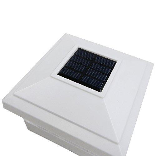 iGlow 4 Pack White Outdoor Garden 5 x 5 Solar LED Post Deck Cap Square Fence Light Landscape Lamp Lawn PVC Vinyl Wood