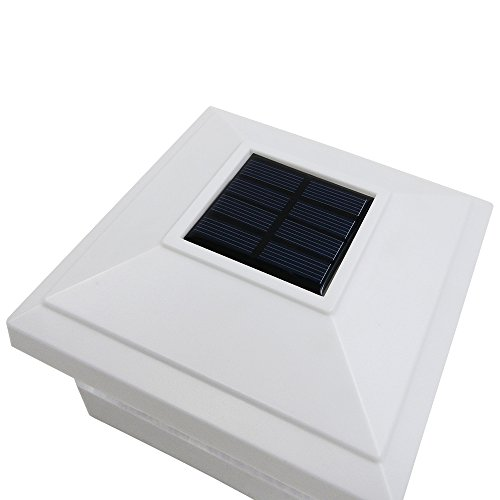 iGlow 4 Pack White Outdoor Garden 5 x 5 Solar LED Post Deck Cap Square Fence Light Landscape Lamp Lawn PVC Vinyl Wood