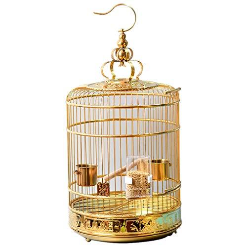 LSWUDU La Jaula de Acero Inoxidable Puro/el grillo de la Jaula del Loro de Starling redondea el baño de Pintura no es la Jaula de Oro para Mascotas (Size : 40)
