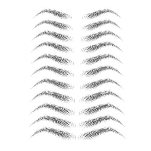 zhibeisai Women 3D Eyebrow Sticker Tattoo Eye Brow Waterproof Stereo wenkbrauw sticker wenkbrauw tattoo Decal False Eyebrow Decoration, E16 E16 & zwart
