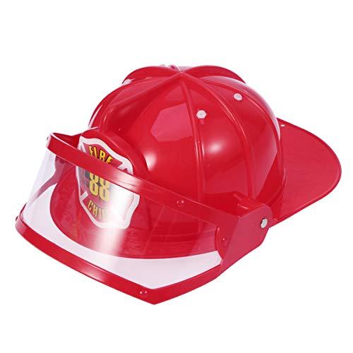 Amosfun Chapeau de Construction Enfant en Plastique Casque De Pompier Enfant Costume de Sécurité Jeu dImitation pour Halloween Fête dAnniversaire Cosplay (Rouge)