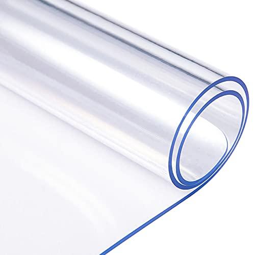S SMAUTOP Copritavolo Trasparente in PVC con Bordi arrotondati, Tappetino da Tavolo, Tappetino Impermeabile, tovagliette da Cucina Lavabili (90x40cm)