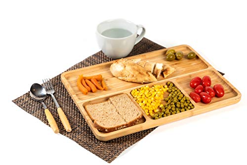 Bamboo portion platters (Set of 2), divided dinner platter for adults, food cubby plate divider 2 pack, meal portion control plate, wooden plates for kids& adults, balanced meal plate