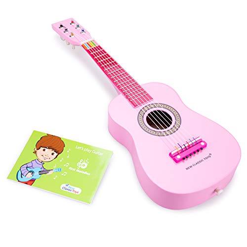 New Classic Toys - 10345 - Musikinstrument - Spielzeug Holzgitarre - Rosa