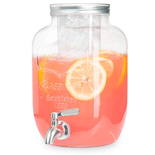 Outdoor Glass Beverage Dispenser with Stainless Steel Spigot & Ice Cylinder - 1 Gallon Drink Dispenser for Tea, Lemonade, Cold Water & More