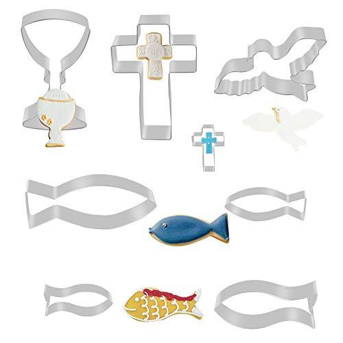 GIANOLUC 8 Stück Taufe Deko, Ausstecher Fisch Kommunion, Ausstechformen Taufe, Keksausstecher Fisch, Ausstecher Taufe, Ausstecher Kommunion Set, Ausstechform Kreuz Plätzchenformen für Kommunion