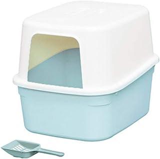 猫用トイレ本体 高い盾が付いている前部開いた大きい猫のくず箱はこぼれるペットゴミを防ぎます 適当な容量、快適に使える (色 : 青, サイズ : 50*37*40cm)