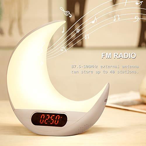 Lanlan Ting Weckalarmlampe für Mondfernbedienung Kinderwecker mit UKW-Radio Bunte Nachttischlampe, 7 Arten von Musik, Touch-Control-Funktion LED-