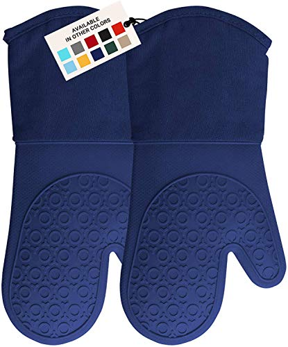 HOMWE Professional Silicone Oven Mitt, Oven Mitts with Quilted Liner, Heat Resistant Pot Holders, Flexible Oven Gloves, Blue,1 Pair, 13.7 Inch