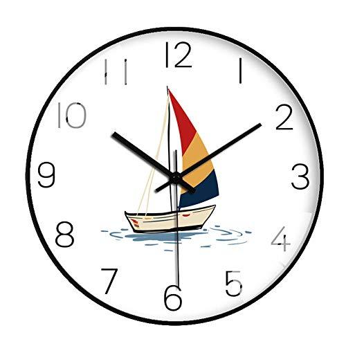 ZZLHHD Marco Plata Reloj Pared ModernoReloj de Pared de Dormitorio Lindo de Dibujos animados-71 negroPersonalidad Metalico Moda Reloj Pared
