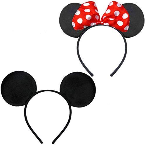 Hatstar Doppelpack mit Maus Haarreifen | Maus Ohren mit roter Schleife und weißen Punkten & Maus Ohren in schwarz für Kinder und Erwachsene