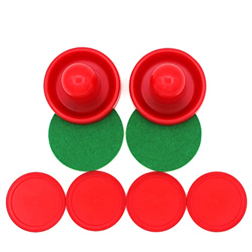 YeahiBaby 4Pcs Air Hockey Pucks, 2Pcs 76 mm empujadores, Juego de Mesa, Reemplazo (Rojo)