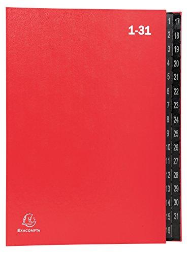 Exacompta 57035E Pultordner (Ordonator, Recycling-Karton, 32 Fächer - Numerische Register von 1-31, DIN A4) 1 Stück rot