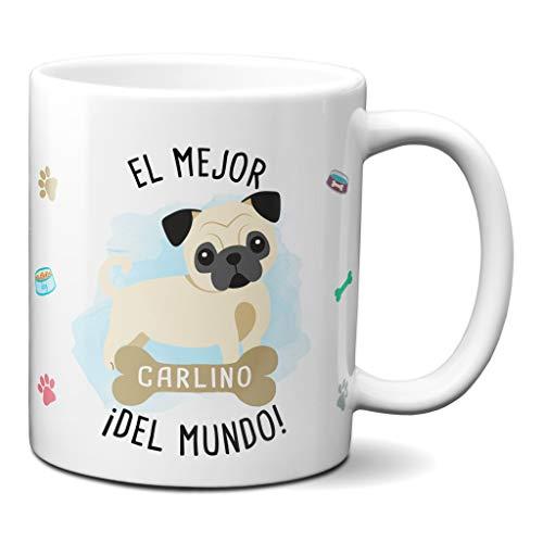 Planetacase Taza el Mejor Carlino del Mundo Regalo Original Taza Perro Ceramica 330 mL