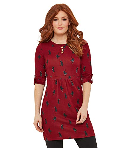 Joe Browns Kitty Cat Tunic T-Shirt À Manches Longues, (Burgundy A), (Taille Fabricant: 12) Femme