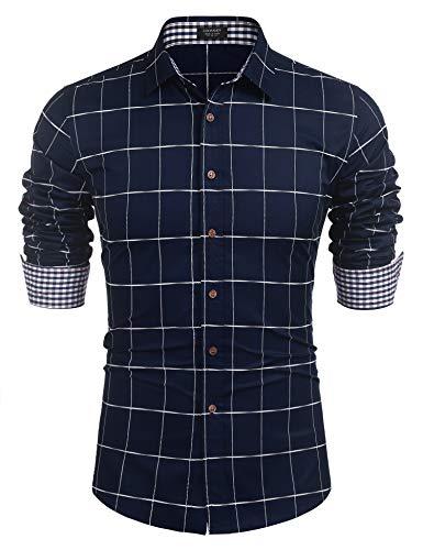 COOFANDY Herren Kariertes Hemd Langarm Regular Fit Kent Kragen aus Baumwolle Klassische Leicht Bügelfrei Businesshemd Freizeithemd für Männer Marine Blau M