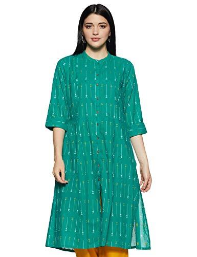 Rangmanch By Pantaloons Women's cotton Straight Kurta (110062538_ Turquoise_ Small)