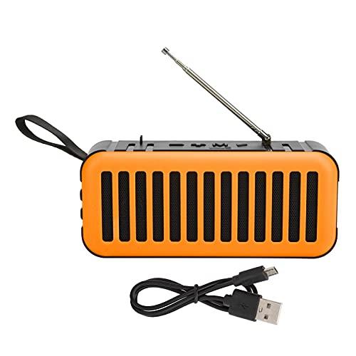 ASHATA Haut-Parleur Solaire Bluetooth Radio FM, Subwoofer Portable Extérieur Alimenté par Haut-Parleur, Support de Haut-Parleur sans Fil Stéréo FM(Orange)