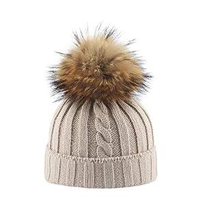 Parent Child Winter Warm Hats,Jchen(TM) Mother Child Daughter Son Kids Winter Keep Warm Soft Knitting Hat Family Crochet Beanie Ski Cap with Hairball (Kids:Head Circumference:50-54cm, Beige)