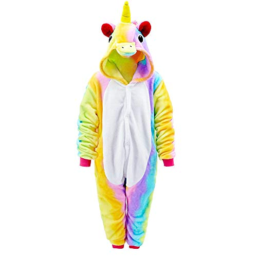 MMTX Einhorn Kostüm Onesies Jumpsuit Schlafanzug, Flanell Tier Fasching Karneval Nachtwäsche...