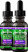 2 Pack Hemp Oil 80.000 MG. Anxiety Reducer. Pain Relief. Natural Sleep Aid. Weight Management .with Natural Mint Flavor. (2)