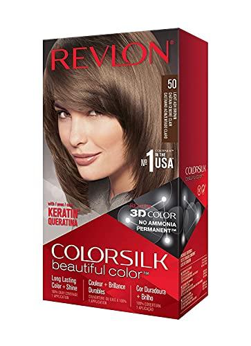 Revlon Colorsilk Beautiful Color Coloration Permanente des Cheveux avec Technologie au Gel 3D et Kératine, Teinture avec Couvrance à 100 % des Cheveux Blancs, 50 Châtain cendré clair