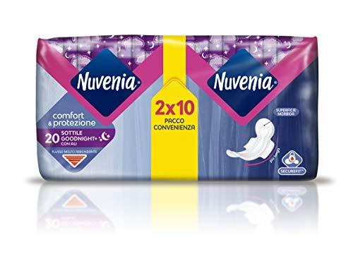Nuvenia - Assorbente Sottile Notte con Ali - Superficie Morbida e Controllo Odori - Confezione da 20...