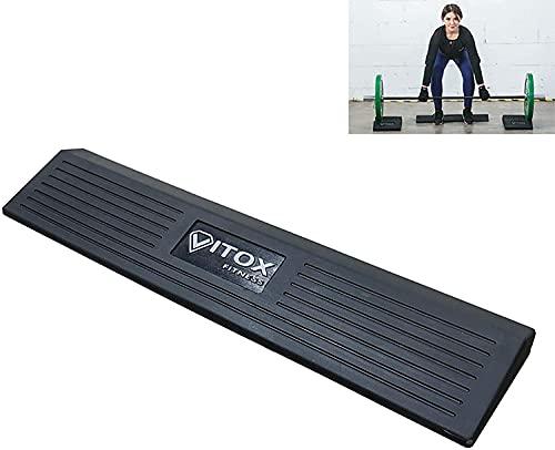 Fitness Squat Wedge para plataforma elevación talón y pantorrilla, bloque cuclillas completo con barra, cuña elevación talón, tablas de rampa sentadillas de goma sólida para estiramiento (Color:negro) ✅