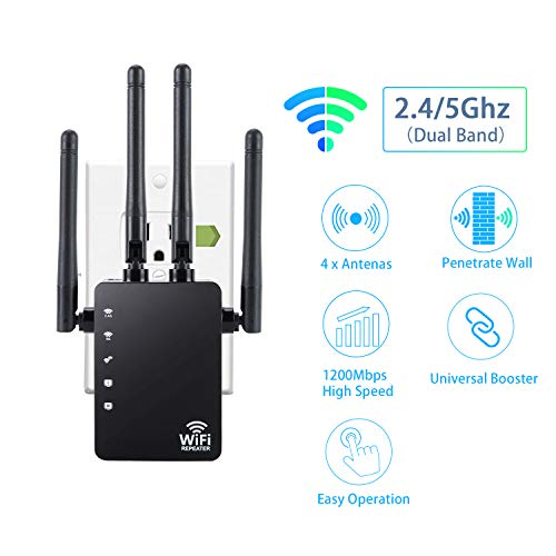 WiFi Range Extender - 1200Mbps WiFi Repeater, Wireless Internet Signal Booster, 2.4 & 5GHz Dual Band Wireless Access Point with Ethernet Port and 4 High Gain External Antennas, Extends WiFi Signal