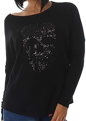 Voyelles Jela London Damen Totenkopf Pullover Glitzer Sweatshirt Skull Sweater Longsleeve Stretch Pulli Oversize Feinstrick, 34 36 38 Schwarz
