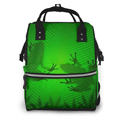 Frog Shadow Silhouette On The Banana Tree Leaf Diaper Backpack Large Capacity Baby Bags Multi-Function Zipper Casual Travel Backpacks for Mom Dad Unisex