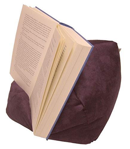 LESEfit Soft antirutsch Lesekissen für Buch & e-Reader, Tablet Kissen Halter kompatibel mit iPad, Buchstütze für Bett & Sofa (multifunktionale Quader-Form)- Wildleder-Imitat lila aubergine