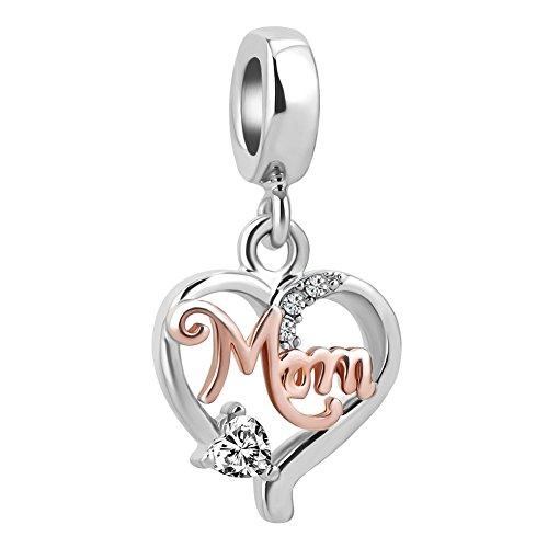 powerful LovelyCharms Love Mom Mother Heart Charm Dangle Rose Gold Pearl for European Bracelet