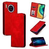 GLXC AYDD Étui à rabat magnétique en cuir pour Huawei Mate 30 Pro Rouge