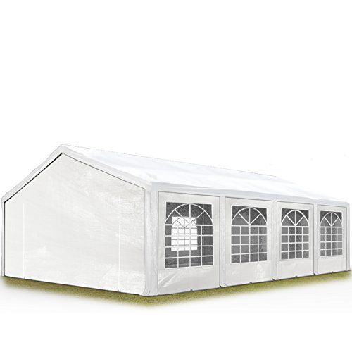 TOOLPORT Hochwertiges Partyzelt 5x8 m Pavillon Zelt ca. 240g/m² PE Plane Gartenzelt Festzelt Wasserdicht weiß