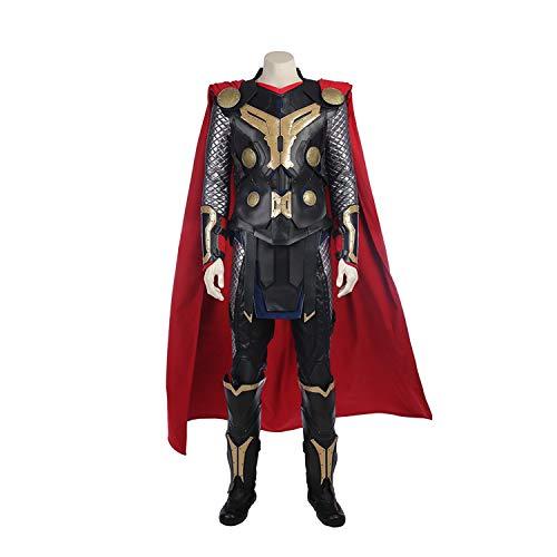 QWEASZER Thor 2 God of Thunder Cosplay Kostüm Marvel Avengers Superheld Kostüme Unterwäsche, Rüstung, Hosen, Umhang, Schuhe Halloween Kostümfest Cosplay Kostüm Requisiten,Black-S