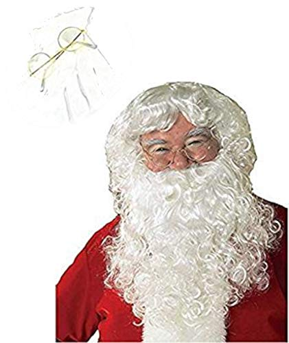 Rubie's Costume Santa Claus Beard, Wig, Glasses and Gloves Set, Adult White