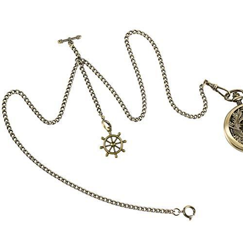 ManChDa Double Albert Chain Taschenuhr, Curb Link Chain 3 Haken Antique Plating Shield Design Fob T Bar für Männer Bronze mit Ruder Anker Anhänger