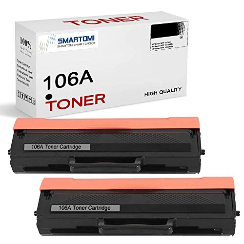 (con Chip) SMARTOMI 106A W1106A Compatibles con HP 106A W1106A Cartuchos Toner para HP Laser 107 107a 107w 107r MFP 135 135a 135w 135r 135wg MFP 137 137fnw 137fwg 2 Negro