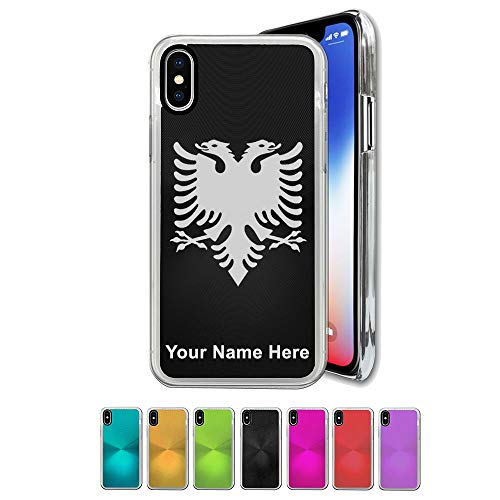 Case Compatible with iPhone Xs MAX, Flag of Albania, Personalized Engraving Included