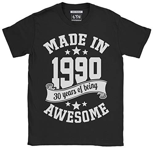 6TN Hombre Hecho en 1990 30 años de ser Impresionante Camiseta (XXL, Negro)