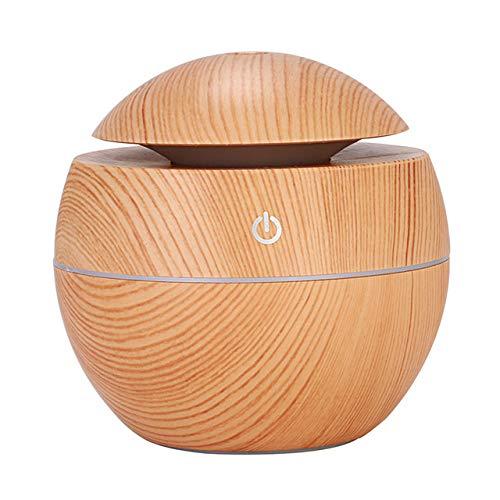 LZYMLG USB Aroma Ätherisches Öl Diffusor Mini USB Luftbefeuchter Tragbarer Ultraschall Nebel Luftbefeuchter Luftreiniger LED Nacht Lightble helles Holz