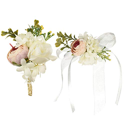 DearHouse 2Pcs Peony Boutonniere Buttonholes and Wrist Corsage Wristband Roses Wrist Corsage, Groom Groomsman Best Man and Girl Brides Wedding Flowers Accessories Prom Suit Decoration