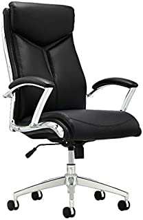Realspace Verismo Modern Comfort Executive Bonded Leather High-Back Chair, Black/Chrome