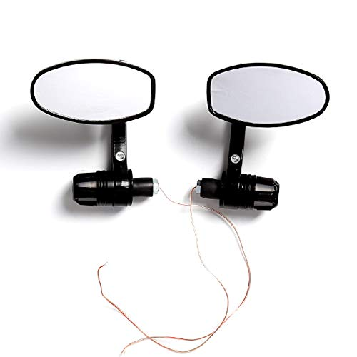 """1 Pair Motorcycle Bar end Mirrors Motorbike Rear View with LED Daytime Running Light Universal 7/8"""" 22MM Handlebar Side Mirror"""