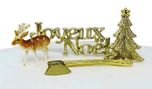 Creative Party BX354 Gold Joyeux Noel (Merry Christmas) Reindeer Cake Decorating Kit-4 Pcs