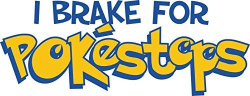 Pokemon-Go-Sticker mit englischer Aufschrift: I brake for pokestops