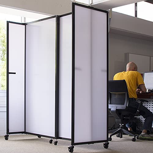 VERSARE Polycarbonate StraightWall Sliding Portable Partition – Room Divider Privacy Screen Panel on Wheels with Casters