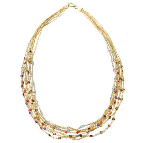 Citerna Damen-Halskette 18 Karat vergoldet Silber Gelb 7 Stranded Mesh 5strängig, mit bunten Steinen, 43 cm SFNK1301 MULTI E